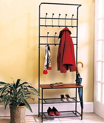 Entryway Bench With Rack Metal And Wood 18 Hooks Storage Shelves